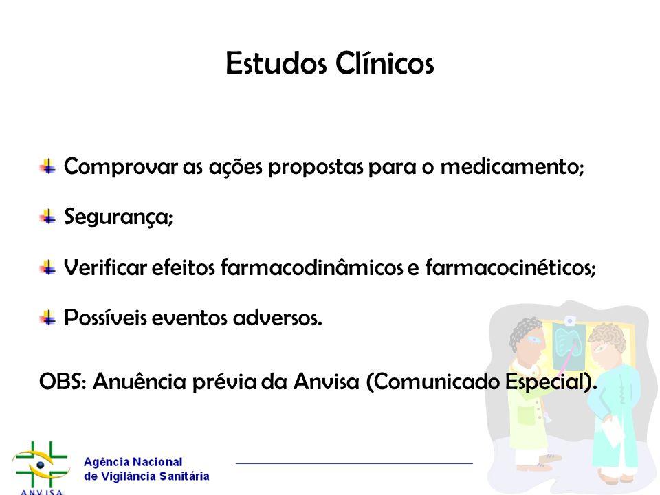 Estudos Clínicos Comprovar as ações propostas para o medicamento; Segurança; Verificar efeitos farmacodinâmicos e farmacocinéticos; Possíveis eventos