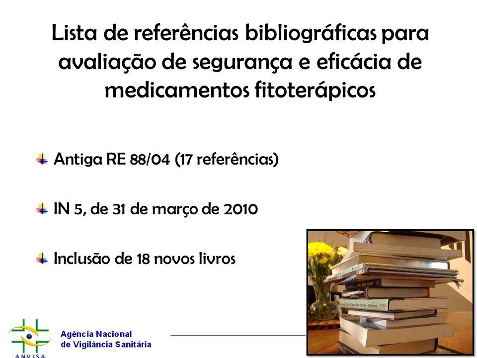 Lista de referências bibliográficas para avaliação de segurança e eficácia de medicamentos fitoterápicos Antiga RE 88/04 (17 referências) IN 5, de 31
