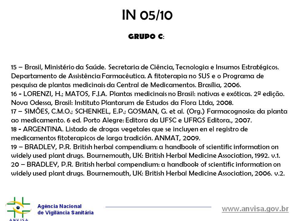 15 – Brasil, Ministério da Saúde. Secretaria de Ciência, Tecnologia e Insumos Estratégicos. Departamento de Assistência Farmacêutica. A fitoterapia no