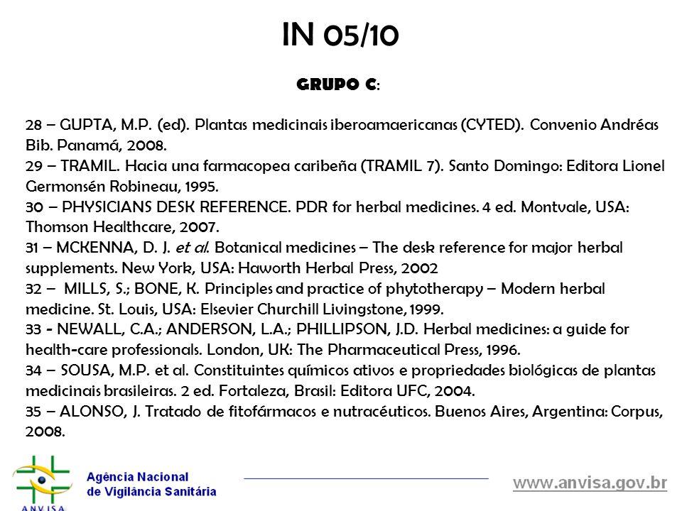 28 – GUPTA, M.P. (ed). Plantas medicinais iberoamaericanas (CYTED). Convenio Andréas Bib. Panamá, 2008. 29 – TRAMIL. Hacia una farmacopea caribeña (TR