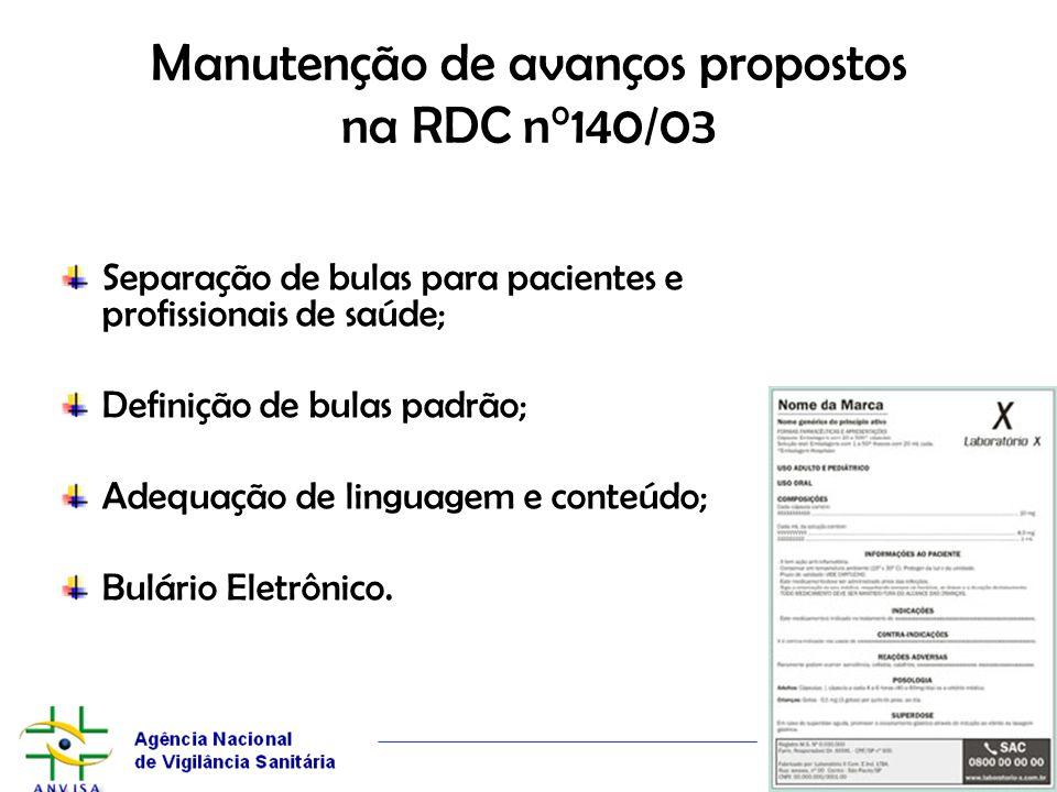 Manutenção de avanços propostos na RDC n°140/03 Separação de bulas para pacientes e profissionais de saúde; Definição de bulas padrão; Adequação de li