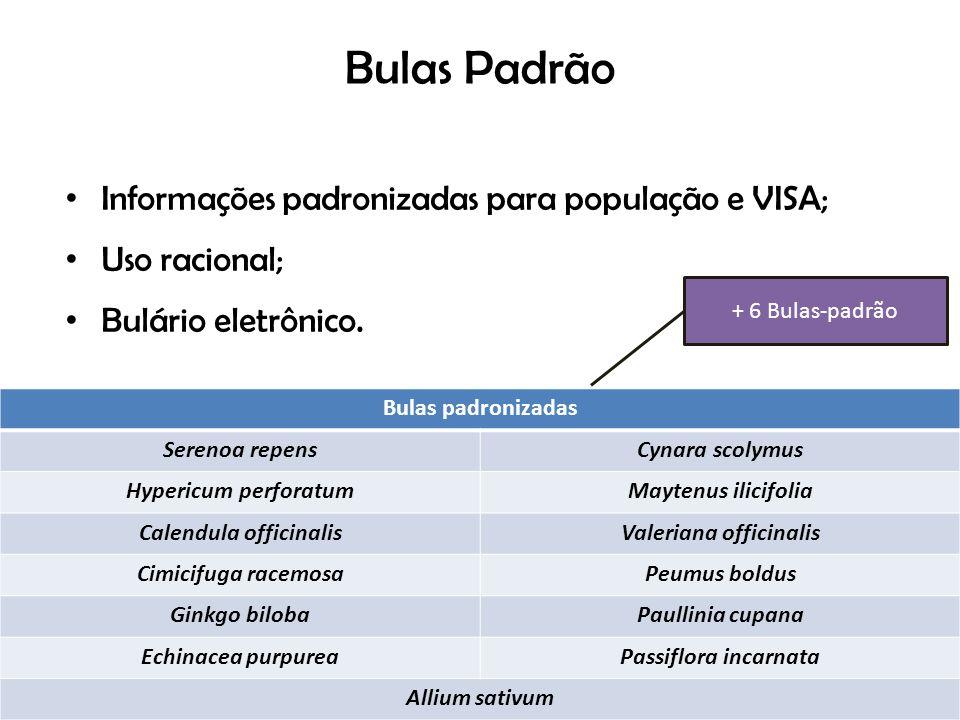 Bulas Padrão Informações padronizadas para população e VISA; Uso racional; Bulário eletrônico. Bulas padronizadas Serenoa repensCynara scolymus Hyperi