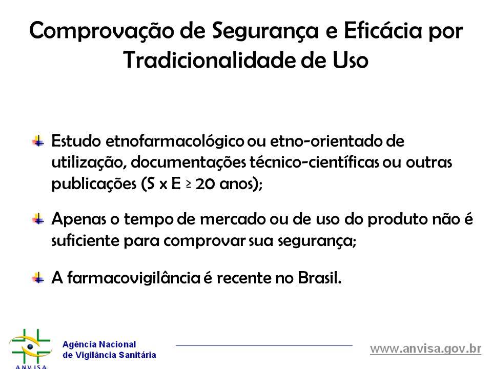 Estudo etnofarmacológico ou etno-orientado de utilização, documentações técnico-científicas ou outras publicações (S x E 20 anos); Apenas o tempo de m