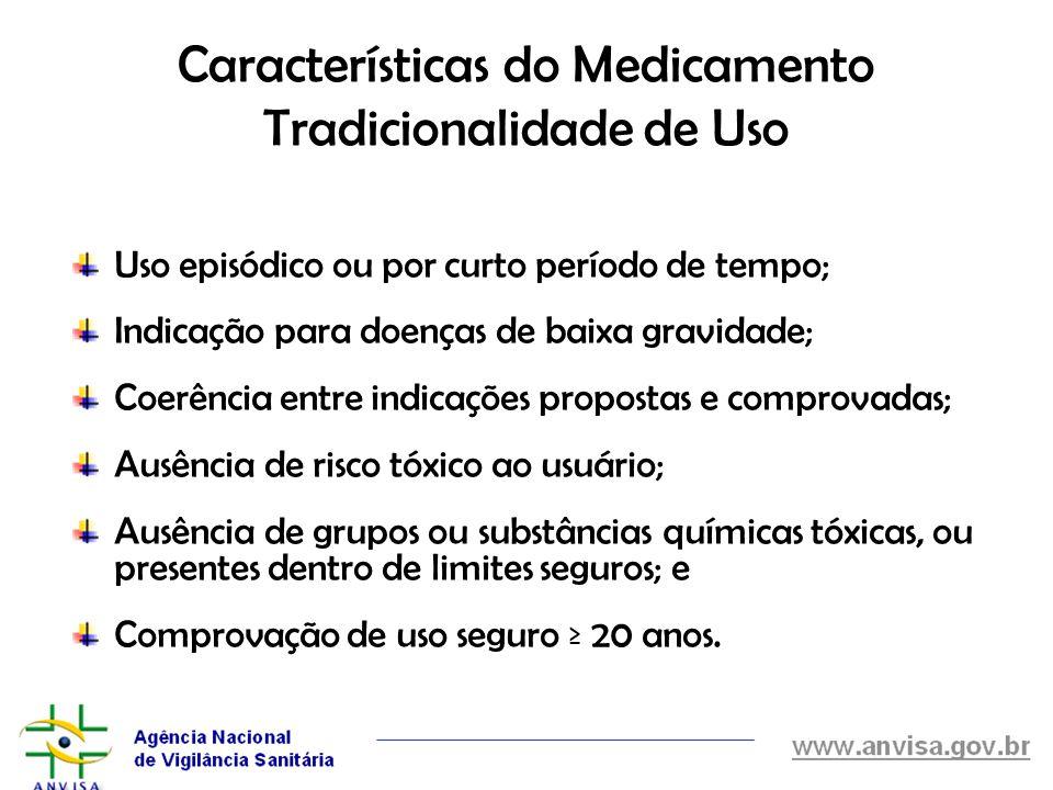Características do Medicamento Tradicionalidade de Uso Uso episódico ou por curto período de tempo; Indicação para doenças de baixa gravidade; Coerênc