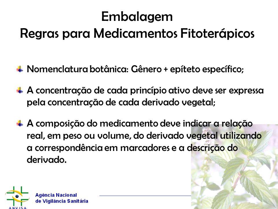 Embalagem Regras para Medicamentos Fitoterápicos Nomenclatura botânica: Gênero + epíteto específico; A concentração de cada princípio ativo deve ser e