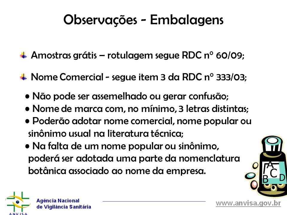 Observações - Embalagens Amostras grátis – rotulagem segue RDC n° 60/09; Nome Comercial - segue item 3 da RDC n° 333/03; Não pode ser assemelhado ou g