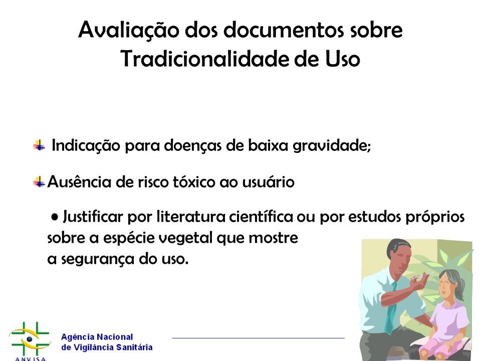 Avaliação dos documentos sobre Tradicionalidade de Uso Indicação para doenças de baixa gravidade; Ausência de risco tóxico ao usuário Justificar por l