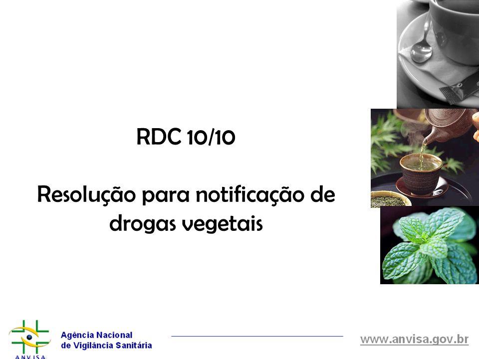 RDC 10/10 Resolução para notificação de drogas vegetais