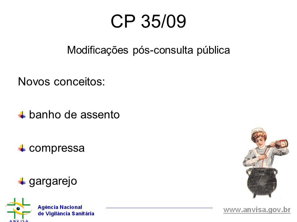 CP 35/09 Modificações pós-consulta pública Novos conceitos: banho de assento compressa gargarejo