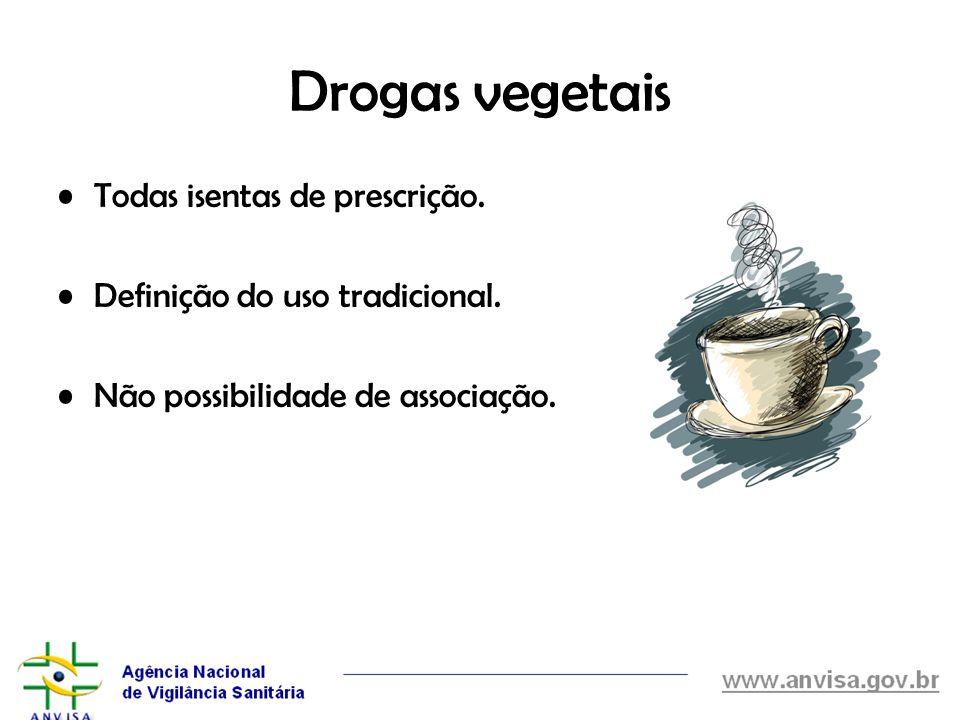 Drogas vegetais Todas isentas de prescrição. Definição do uso tradicional. Não possibilidade de associação.