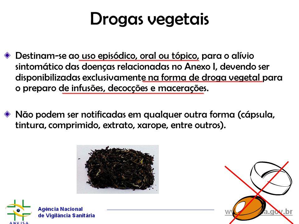 Drogas vegetais Destinam-se ao uso episódico, oral ou tópico, para o alívio sintomático das doenças relacionadas no Anexo I, devendo ser disponibiliza