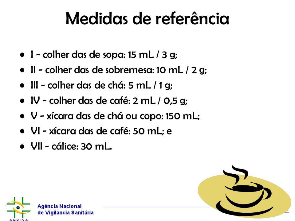 Medidas de referência I - colher das de sopa: 15 mL / 3 g; II - colher das de sobremesa: 10 mL / 2 g; III - colher das de chá: 5 mL / 1 g; IV - colher