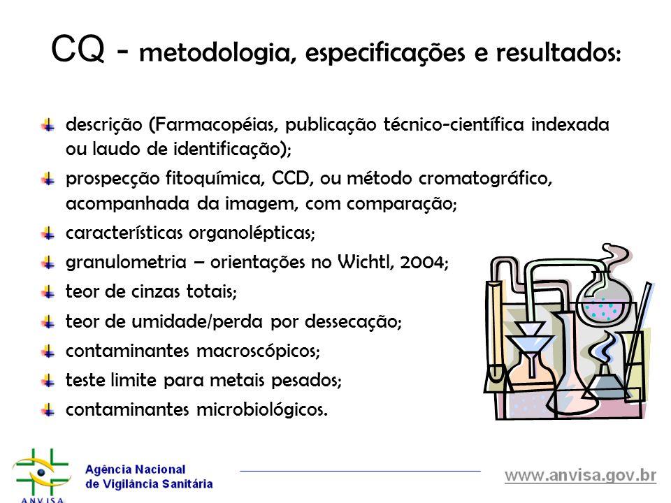 CQ - metodologia, especificações e resultados: descrição (Farmacopéias, publicação técnico-científica indexada ou laudo de identificação); prospecção