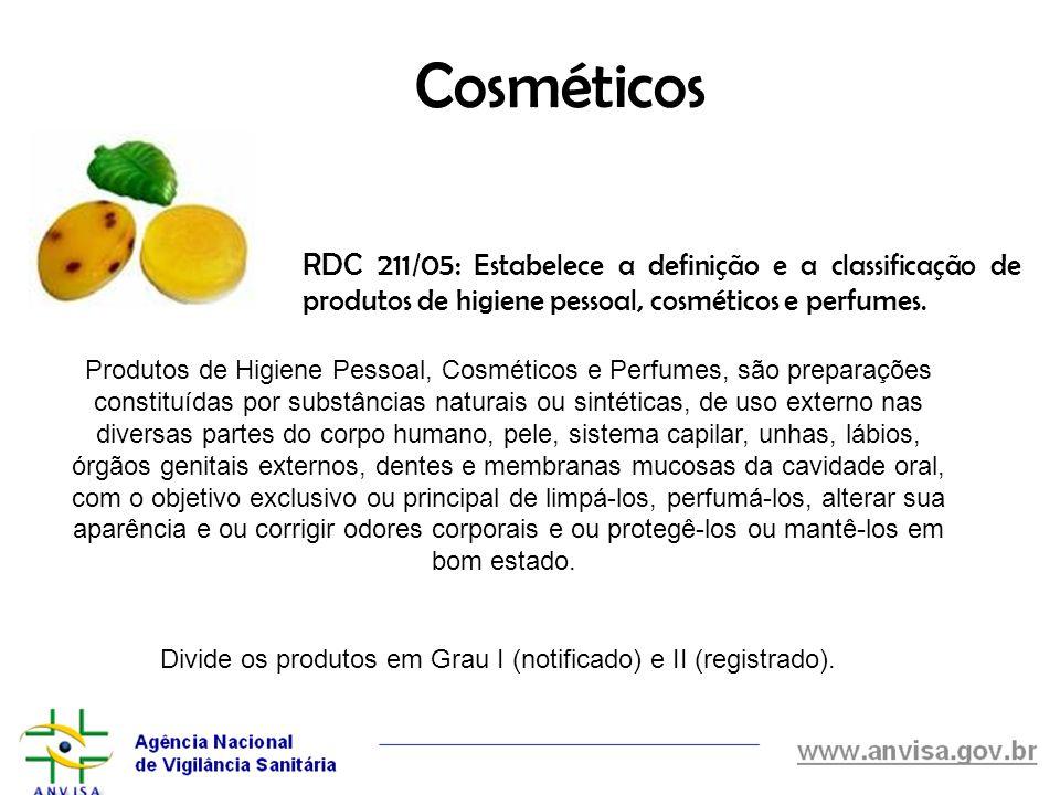 Cosméticos RDC 211/05: Estabelece a definição e a classificação de produtos de higiene pessoal, cosméticos e perfumes. Produtos de Higiene Pessoal, Co