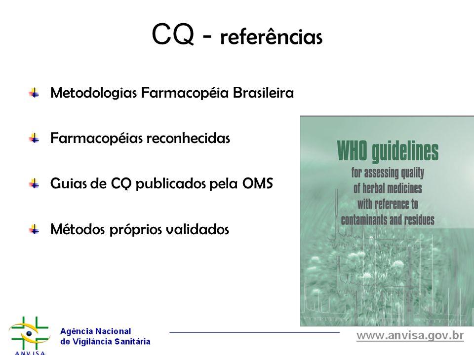 CQ - referências Metodologias Farmacopéia Brasileira Farmacopéias reconhecidas Guias de CQ publicados pela OMS Métodos próprios validados