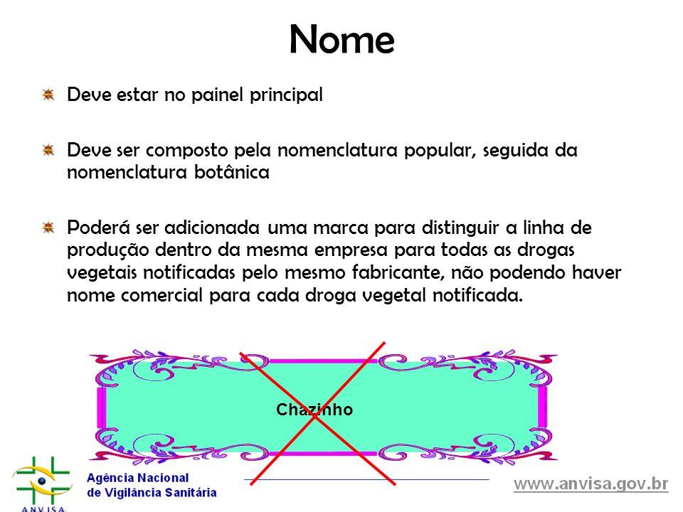 Nome Deve estar no painel principal Deve ser composto pela nomenclatura popular, seguida da nomenclatura botânica Poderá ser adicionada uma marca para