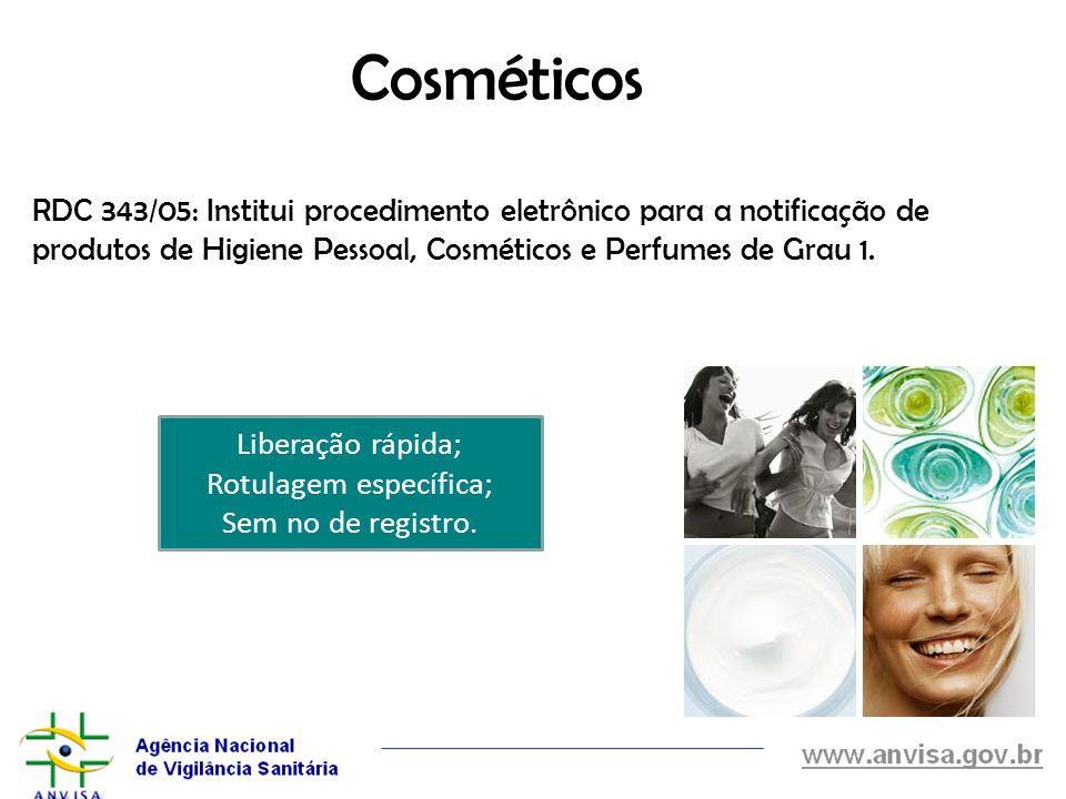 Cosméticos RDC 343/05: Institui procedimento eletrônico para a notificação de produtos de Higiene Pessoal, Cosméticos e Perfumes de Grau 1. Liberação