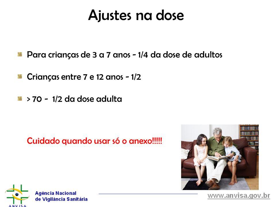 Ajustes na dose Para crianças de 3 a 7 anos - 1/4 da dose de adultos Crianças entre 7 e 12 anos - 1/2 > 70 - 1/2 da dose adulta Cuidado quando usar só