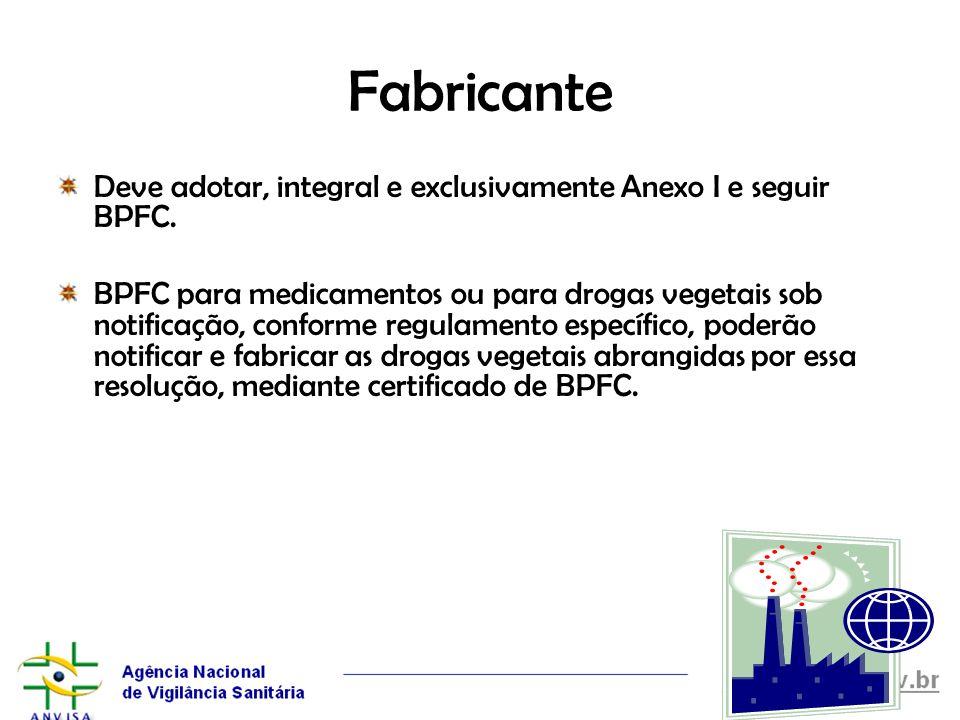 Fabricante Deve adotar, integral e exclusivamente Anexo I e seguir BPFC. BPFC para medicamentos ou para drogas vegetais sob notificação, conforme regu