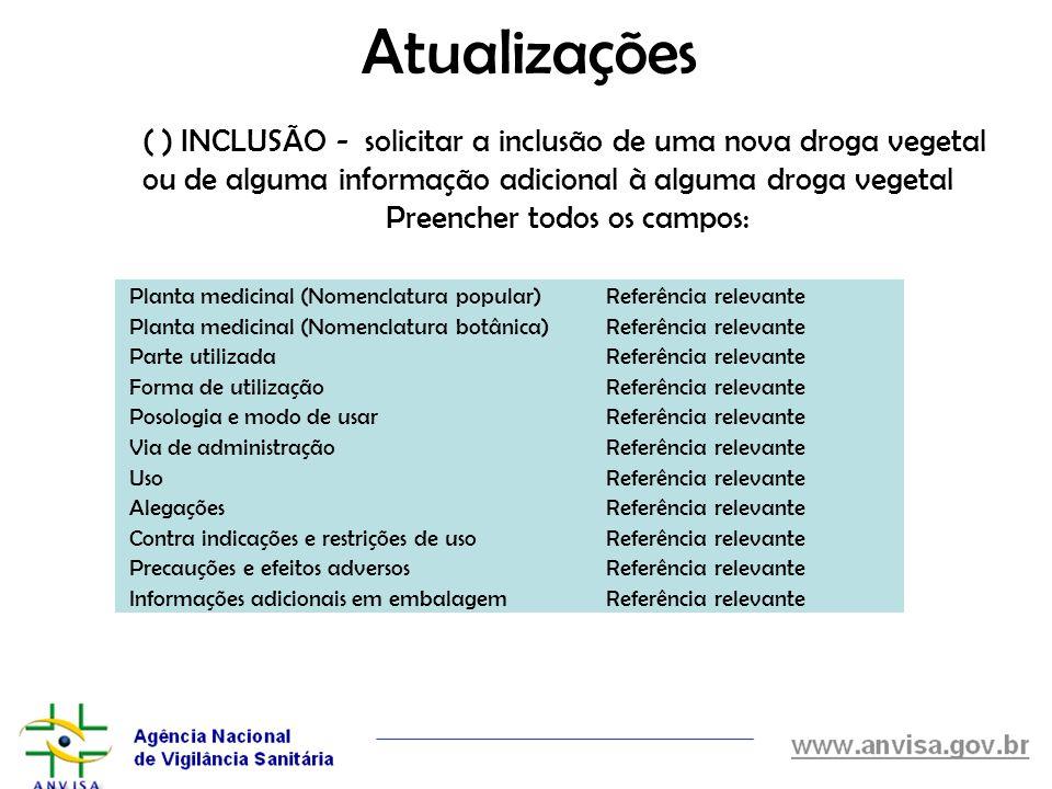 Atualizações Planta medicinal (Nomenclatura popular)Referência relevante Planta medicinal (Nomenclatura botânica)Referência relevante Parte utilizadaR