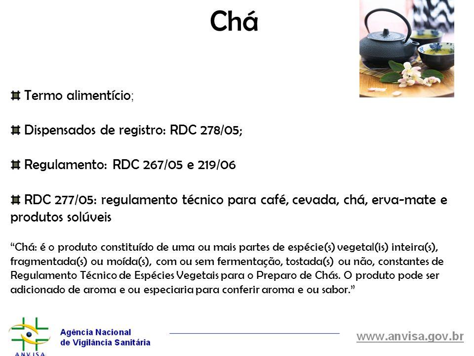 Chá Termo alimentício ; Dispensados de registro: RDC 278/05; Regulamento: RDC 267/05 e 219/06 RDC 277/05: regulamento técnico para café, cevada, chá,