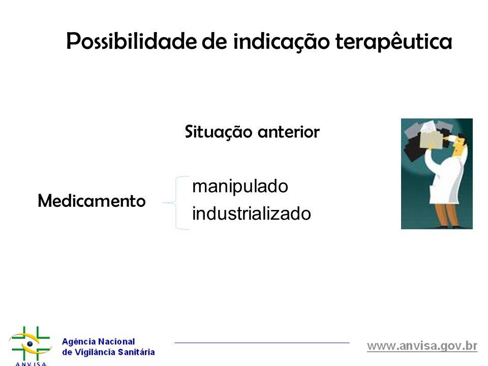 Possibilidade de indicação terapêutica manipulado industrializado Medicamento Situação anterior
