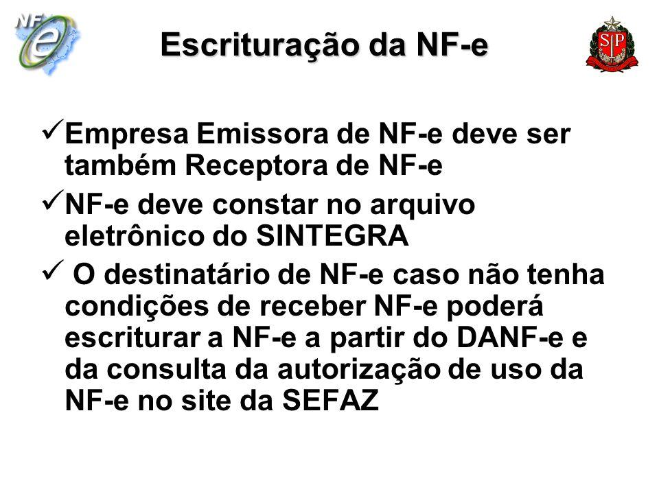 Escrituração da NF-e Empresa Emissora de NF-e deve ser também Receptora de NF-e NF-e deve constar no arquivo eletrônico do SINTEGRA O destinatário de