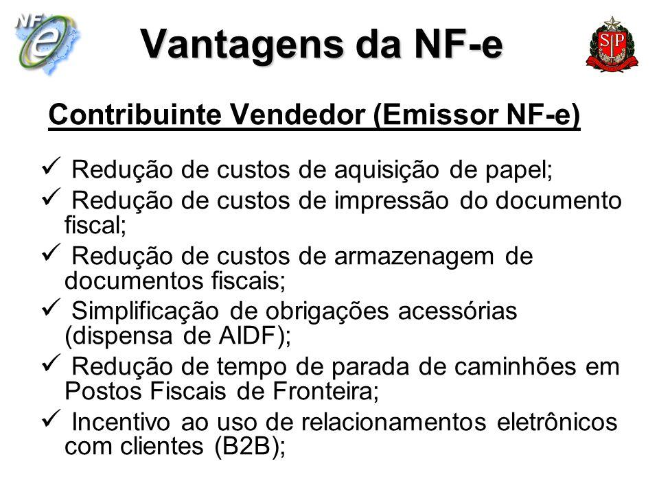 Vantagens da NF-e Contribuinte Vendedor (Emissor NF-e) Redução de custos de aquisição de papel; Redução de custos de impressão do documento fiscal; Re