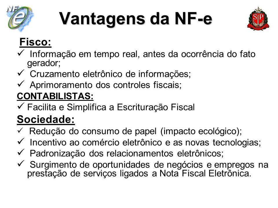 Vantagens da NF-e Fisco: Informação em tempo real, antes da ocorrência do fato gerador; Cruzamento eletrônico de informações; Aprimoramento dos contro
