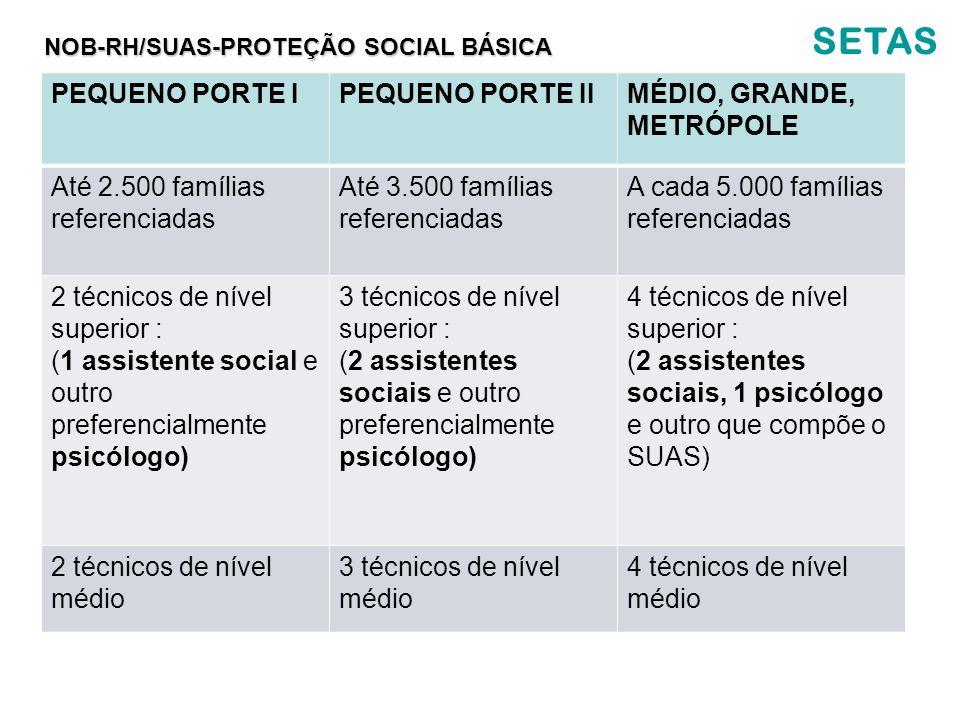 SETAS PEQUENO PORTE IPEQUENO PORTE IIMÉDIO, GRANDE, METRÓPOLE Até 2.500 famílias referenciadas Até 3.500 famílias referenciadas A cada 5.000 famílias
