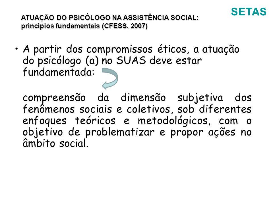 SETAS A partir dos compromissos éticos, a atuação do psicólogo (a) no SUAS deve estar fundamentada: compreensão da dimensão subjetiva dos fenômenos so