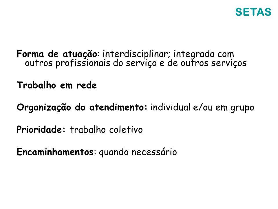 SETAS Forma de atuação: interdisciplinar; integrada com outros profissionais do serviço e de outros serviços Trabalho em rede Organização do atendimen