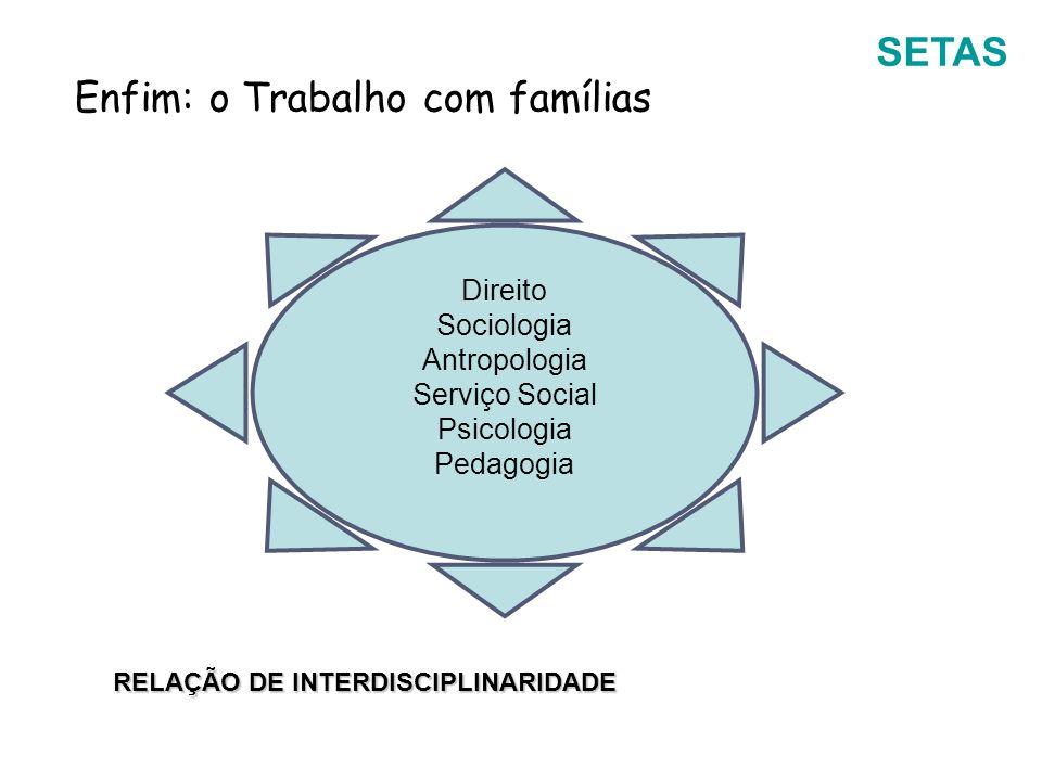 SETAS Enfim: o Trabalho com famílias Direito Sociologia Antropologia Serviço Social Psicologia Pedagogia RELAÇÃO DE INTERDISCIPLINARIDADE