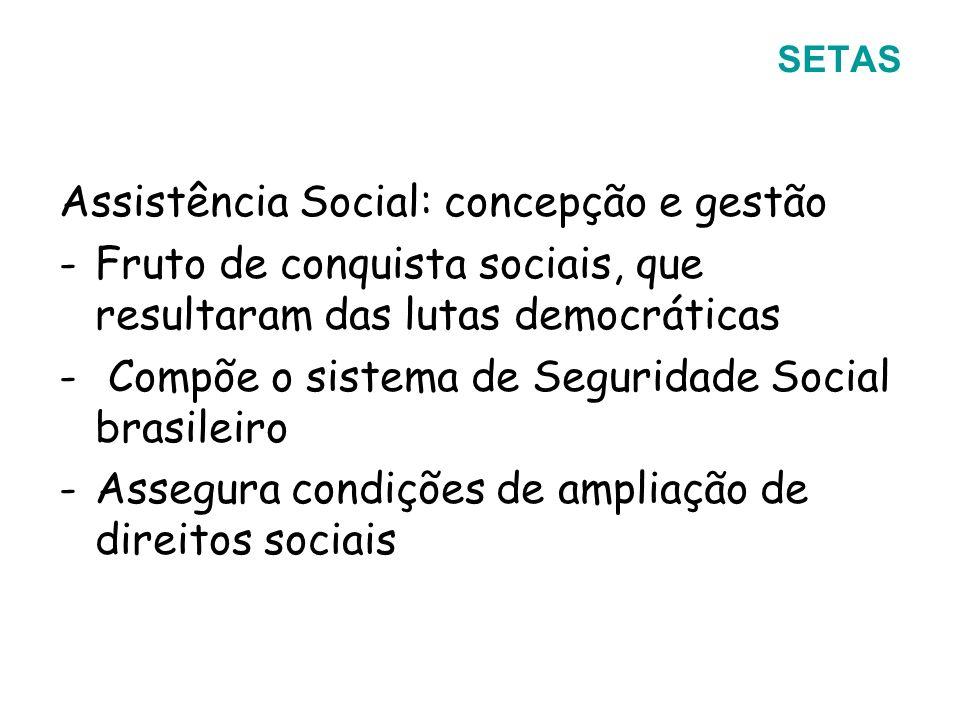 Assistência Social: concepção e gestão -Fruto de conquista sociais, que resultaram das lutas democráticas - Compõe o sistema de Seguridade Social bras
