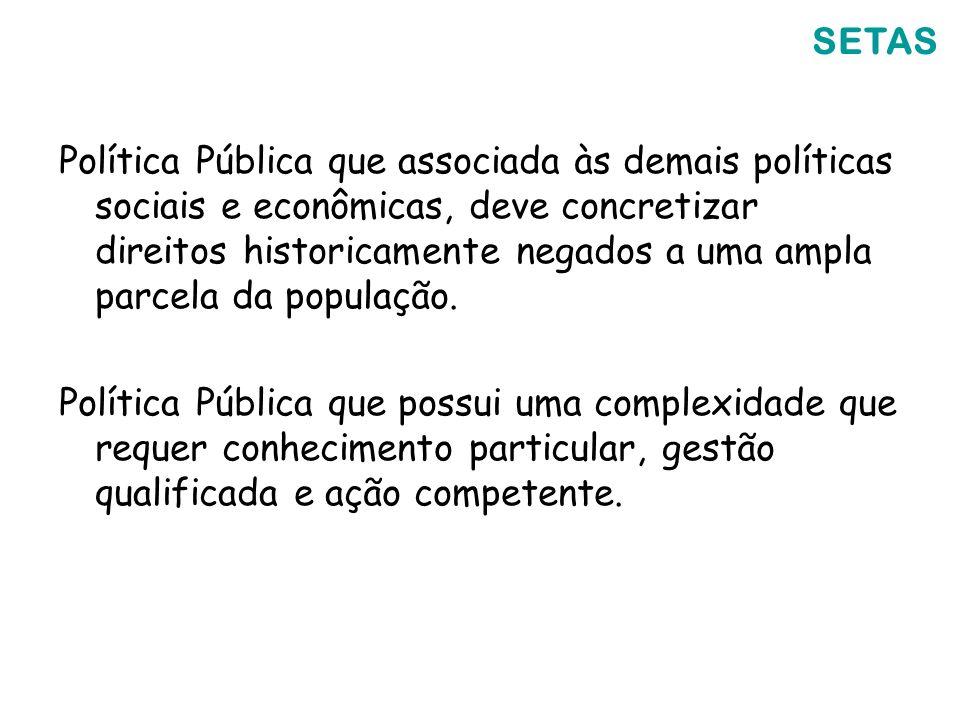 Política Pública que associada às demais políticas sociais e econômicas, deve concretizar direitos historicamente negados a uma ampla parcela da popul