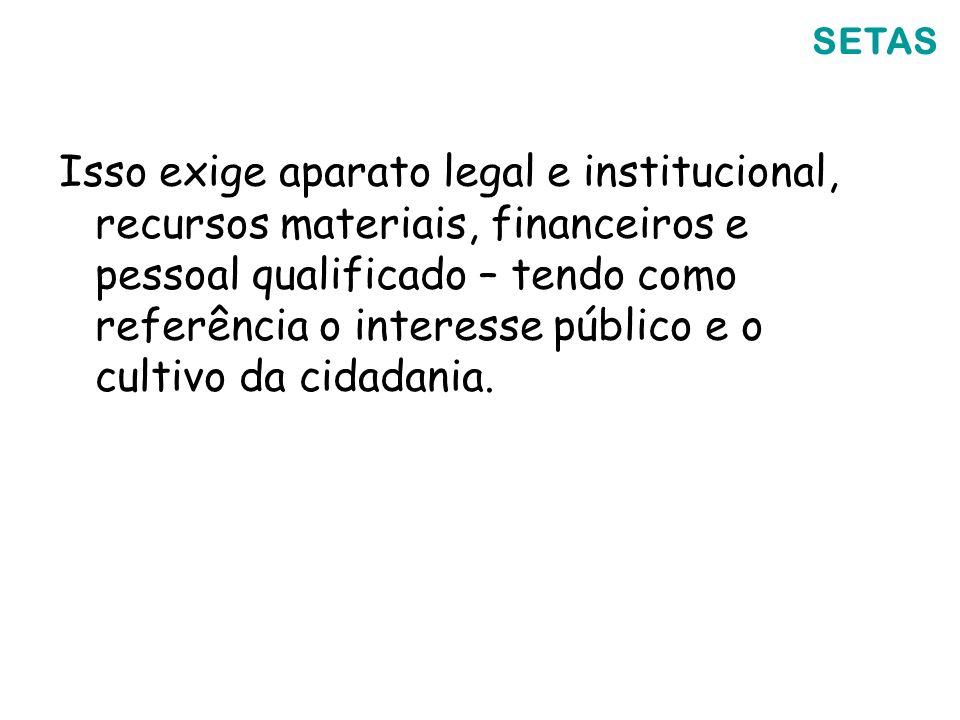 Isso exige aparato legal e institucional, recursos materiais, financeiros e pessoal qualificado – tendo como referência o interesse público e o cultiv