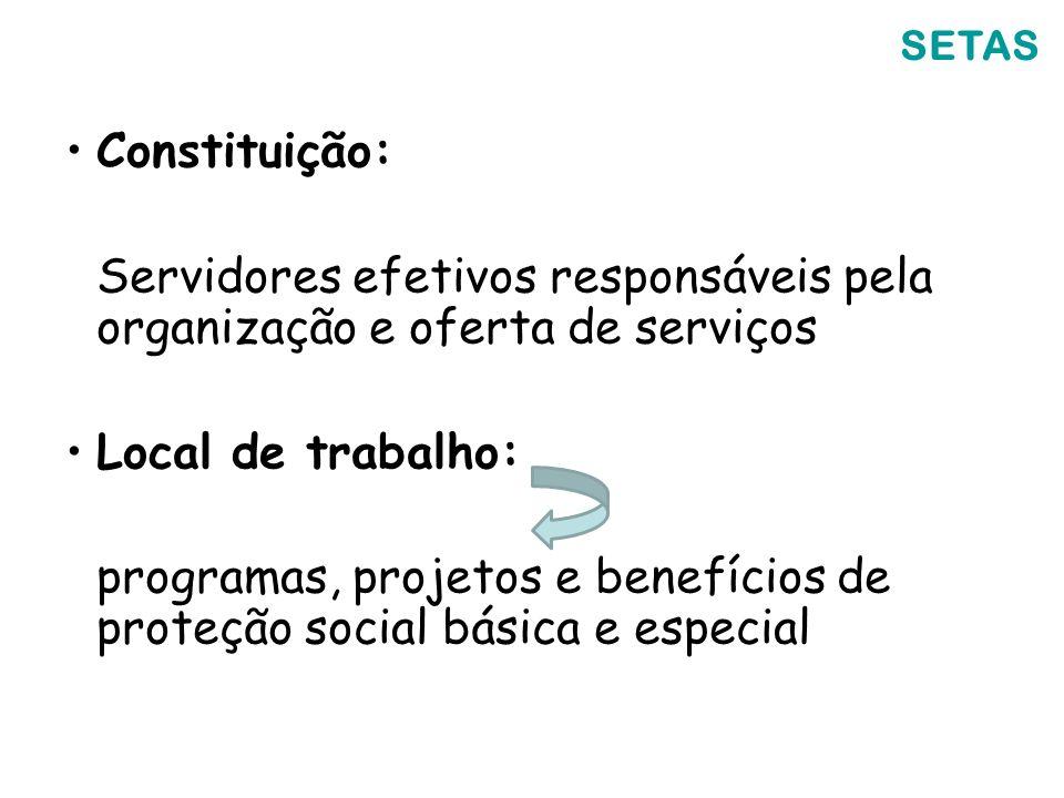 SETAS Constituição: Servidores efetivos responsáveis pela organização e oferta de serviços Local de trabalho: programas, projetos e benefícios de prot