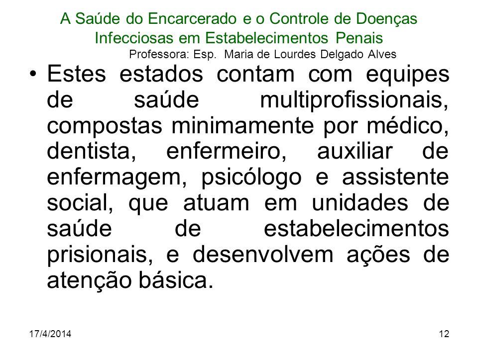 17/4/201412 A Saúde do Encarcerado e o Controle de Doenças Infecciosas em Estabelecimentos Penais Professora: Esp. Maria de Lourdes Delgado Alves Este