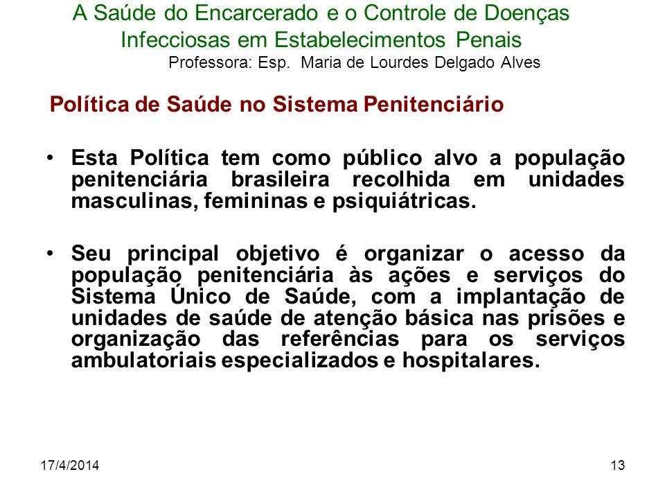17/4/201413 A Saúde do Encarcerado e o Controle de Doenças Infecciosas em Estabelecimentos Penais Professora: Esp. Maria de Lourdes Delgado Alves Polí