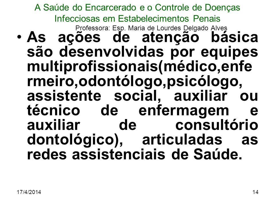 17/4/201414 A Saúde do Encarcerado e o Controle de Doenças Infecciosas em Estabelecimentos Penais Professora: Esp. Maria de Lourdes Delgado Alves As a