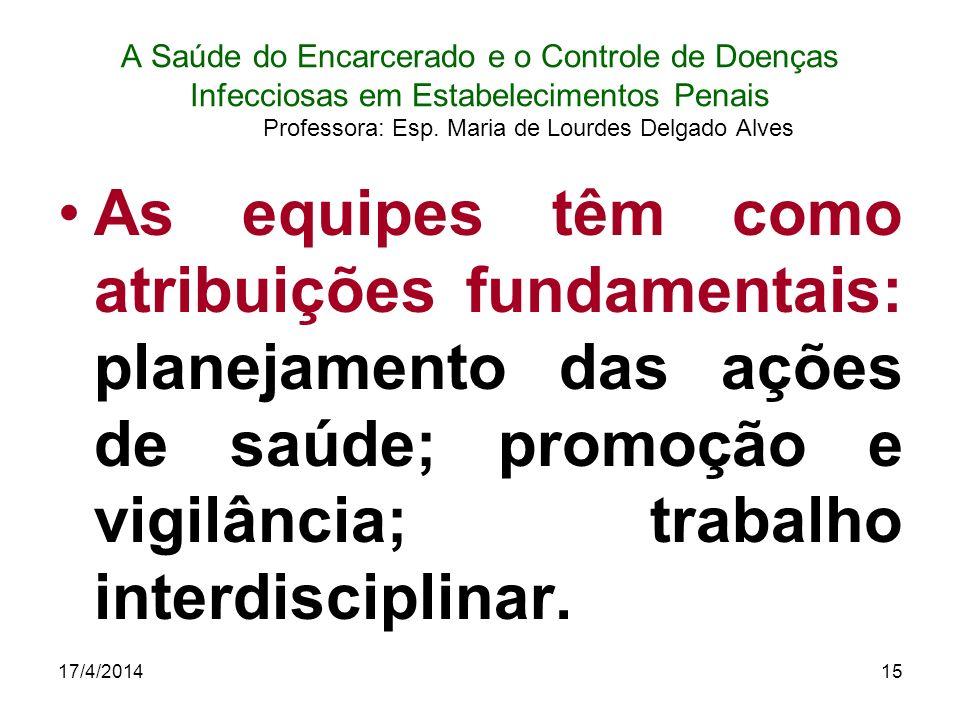 17/4/201415 A Saúde do Encarcerado e o Controle de Doenças Infecciosas em Estabelecimentos Penais Professora: Esp. Maria de Lourdes Delgado Alves As e