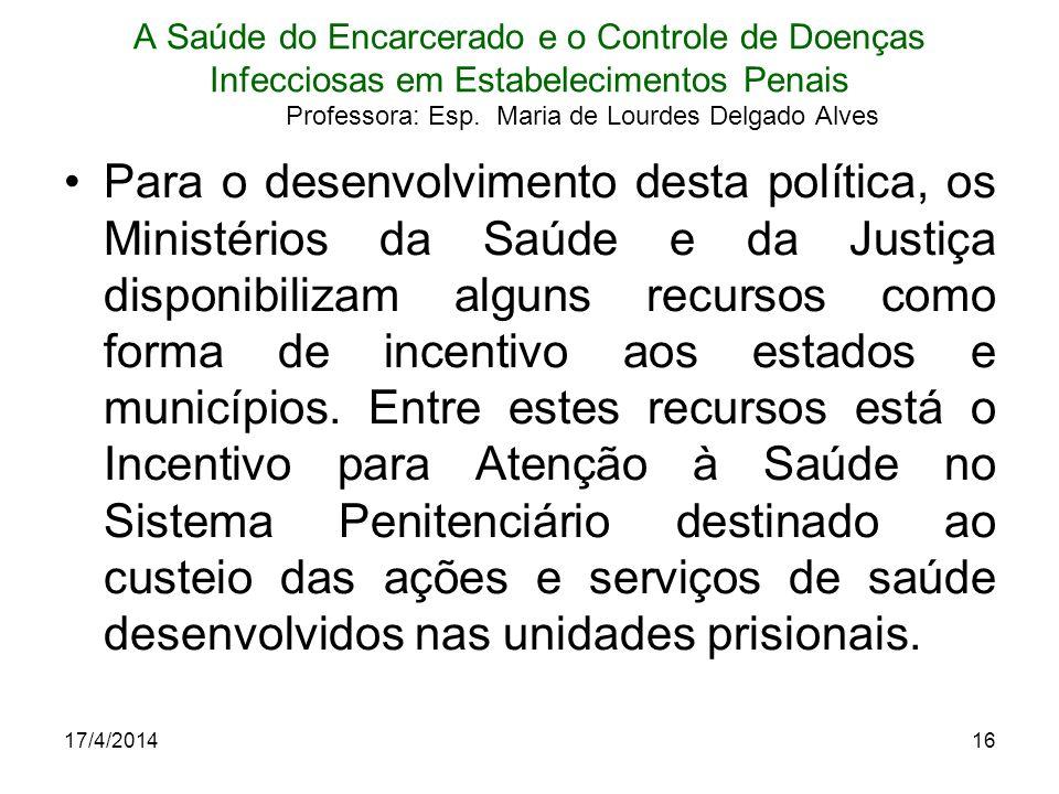 17/4/201416 A Saúde do Encarcerado e o Controle de Doenças Infecciosas em Estabelecimentos Penais Professora: Esp. Maria de Lourdes Delgado Alves Para