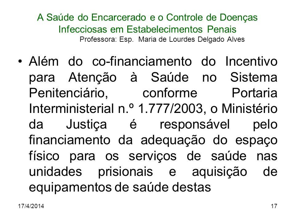 17/4/201417 A Saúde do Encarcerado e o Controle de Doenças Infecciosas em Estabelecimentos Penais Professora: Esp. Maria de Lourdes Delgado Alves Além