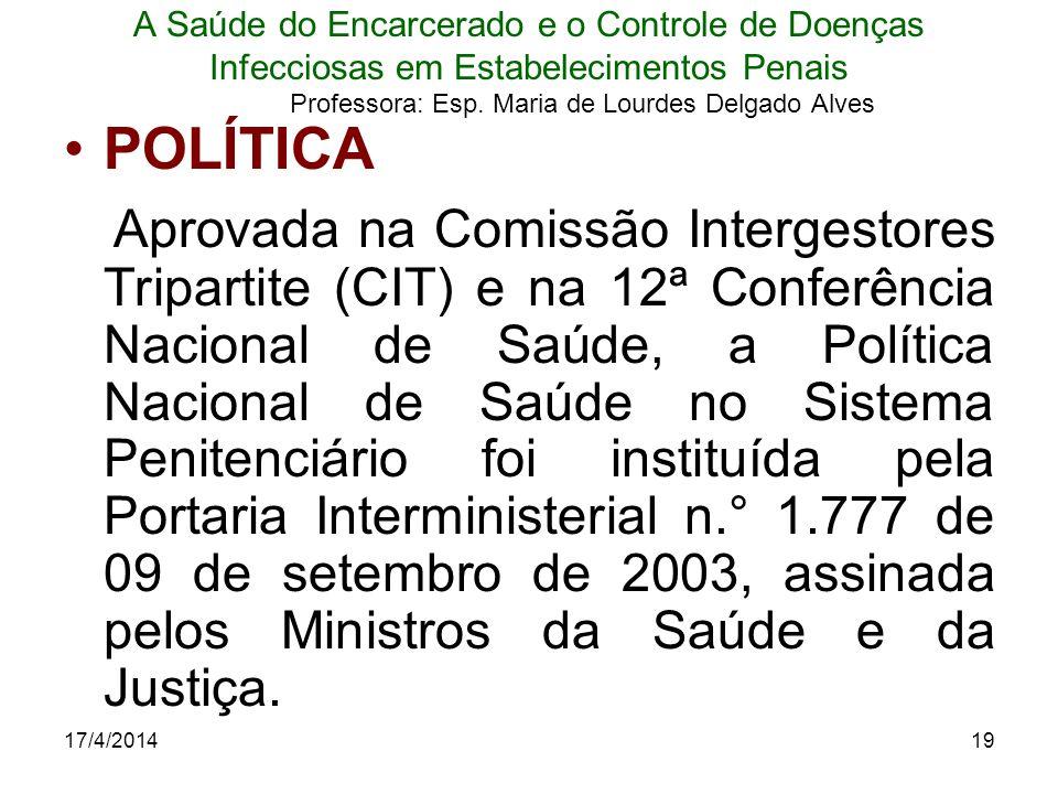 17/4/201419 A Saúde do Encarcerado e o Controle de Doenças Infecciosas em Estabelecimentos Penais Professora: Esp. Maria de Lourdes Delgado Alves POLÍ