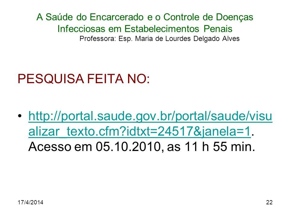17/4/201422 A Saúde do Encarcerado e o Controle de Doenças Infecciosas em Estabelecimentos Penais Professora: Esp. Maria de Lourdes Delgado Alves PESQ