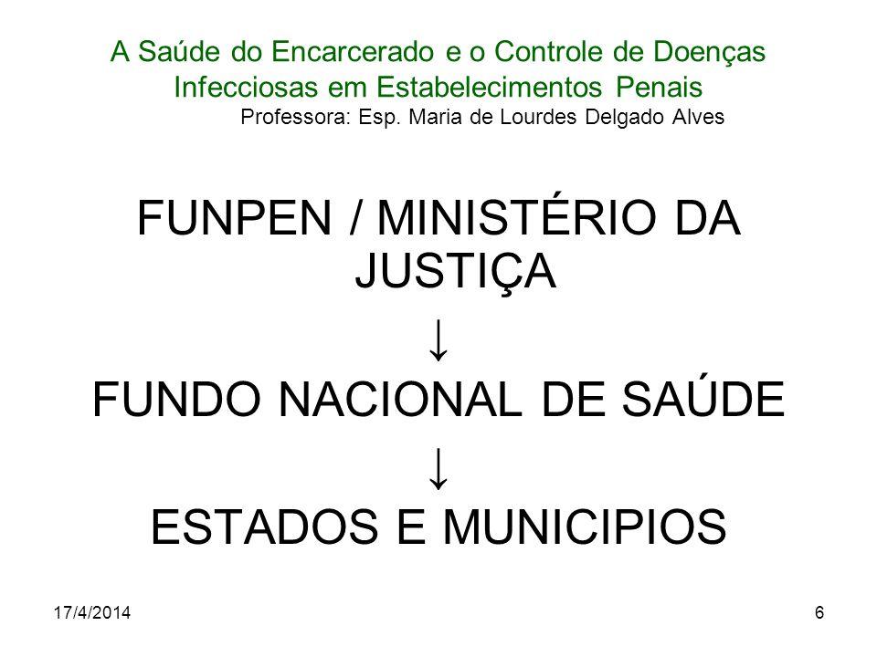 17/4/20146 A Saúde do Encarcerado e o Controle de Doenças Infecciosas em Estabelecimentos Penais Professora: Esp. Maria de Lourdes Delgado Alves FUNPE