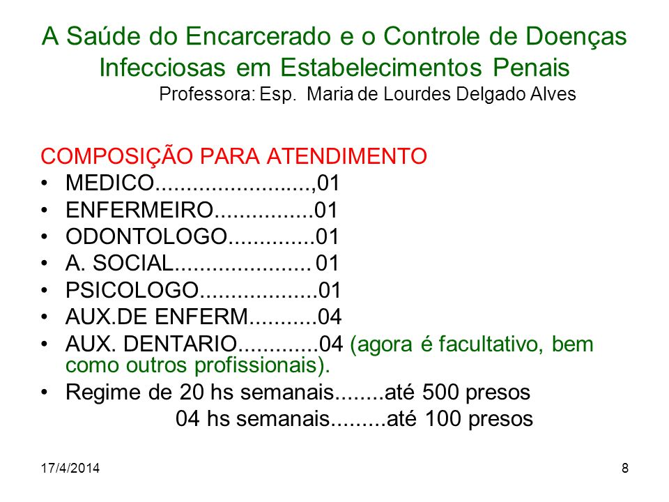 17/4/20148 A Saúde do Encarcerado e o Controle de Doenças Infecciosas em Estabelecimentos Penais Professora: Esp. Maria de Lourdes Delgado Alves COMPO