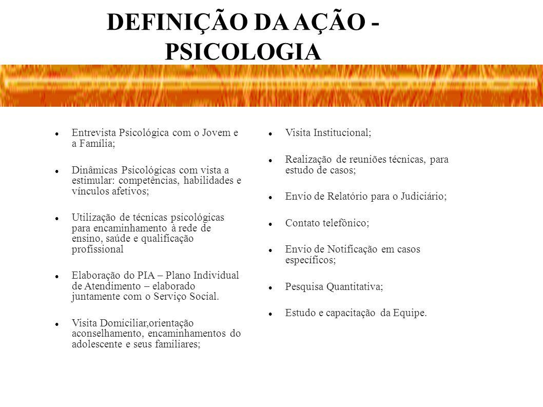 DEFINIÇÃO DA AÇÃO - PSICOLOGIA Entrevista Psicológica com o Jovem e a Família; Dinâmicas Psicológicas com vista a estimular: competências, habilidades
