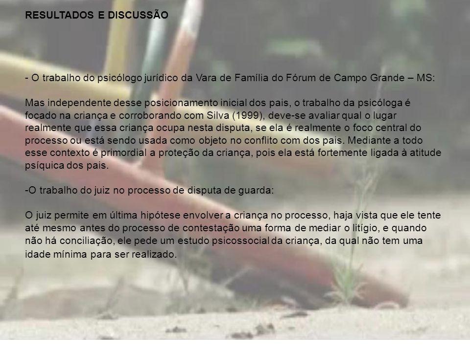 RESULTADOS E DISCUSSÃO - O trabalho do psicólogo jurídico da Vara de Família do Fórum de Campo Grande – MS: Mas independente desse posicionamento inic