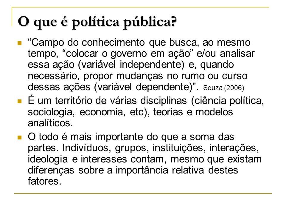 O que é política pública? Campo do conhecimento que busca, ao mesmo tempo, colocar o governo em ação e/ou analisar essa ação (variável independente) e